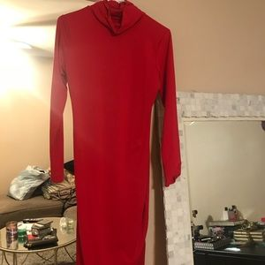 Dresses & Skirts - Red long sleeve fitted high neck dress